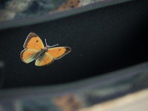 """Tasche aus dem """"kleinen Schmetterlingsbuch"""" mit Schmetterlingen aus dem Buch appliziert im Inneren der Tasche, kombiniert mit einer dazupassenden Krawatte"""