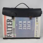 Aktentasche aus der Zeitung FALTER, ZACK-ZACK-ZACK Ausgabe vom Mai 2019
