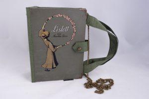 """Tasche aus dem Buch """"Lislott"""" mit einem schöne Frauenbildnis und Blumenkranz am Cover"""