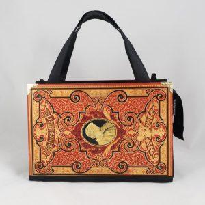 Tasche aus einem Buch von Heine in rot kombiniert mit schwarzem Stoff